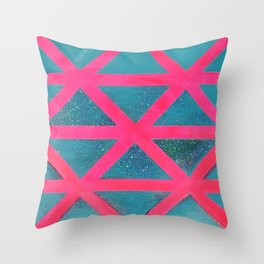 Turquoise on Hot Pink Throw Pillow