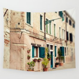 Teal Shutters Wall Tapestry