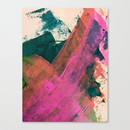 Expand [2]: a colorful, minimal abstract piece in pinks, green, and blue Canvas Print