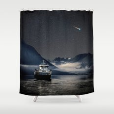 On the Water Under the Stars Shower Curtain