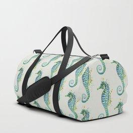 Seahorse: Green Natural Duffle Bag
