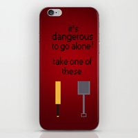 shaun of the dead iPhone & iPod Skins featuring Shaun of the dead - It's dangerous to go alone! by tukylampkin