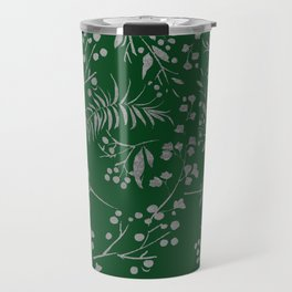 Forest green country chic faux silver floral leaves Travel Mug