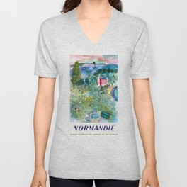1952 Normandie France Railway Travel Poster Unisex V-Neck