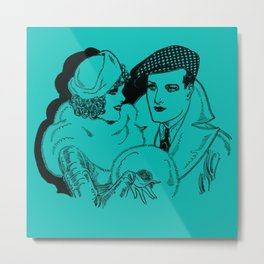 Guy and Gal Pal Around Town Metal Print