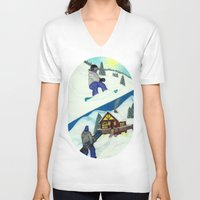 snowboarding V-neck T-shirts featuring Snowboarding ; Putting In Your Eight Hours by N_T_STEELART