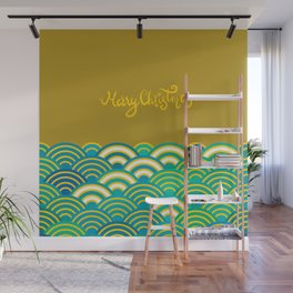 Seigaiha or seigainami literally means wave of the sea. Merry Christmas card Wall Mural