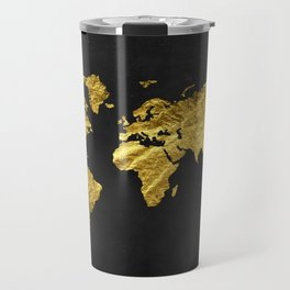 Black Gold Decor, Gold World Map, Office Decor, Bathroom, Glam, Black Wall Art Travel Mug
