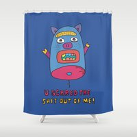 pig Shower Curtains featuring pig by PINT GRAPHICS