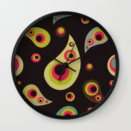 Oriental Persian Paisley, Dots - Green Pink Black Wall Clock