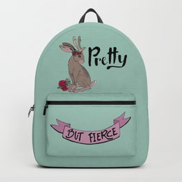 Pretty but fierce jackalope with flowers Backpack