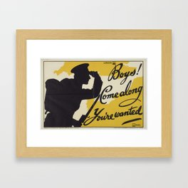 Poster, 'Boys! Come along You're wanted', April 1915, United Kingdom, by Parliamentary Recruiting Co Framed Art Print
