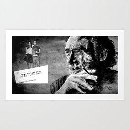 Charles Bukowski - love version - black Art Print