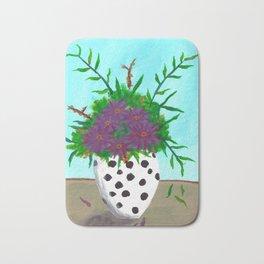 Purple Flowers in Polka Dot Vase Bath Mat