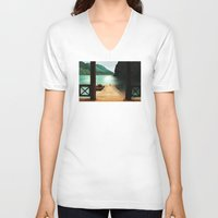lake V-neck T-shirts featuring Lake by Viggart