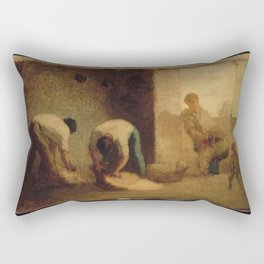 Jean-François Millet - Three Men Shearing Sheep in a Barn Rectangular Pillow