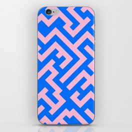 Cotton Candy Pink and Brandeis Blue Diagonal Labyrinth iPhone Skin
