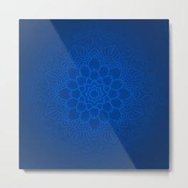 Abstract Mandala Flower Decoration 11 - Blue Metal Print
