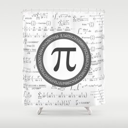 The Pi symbol mathematical constant irrational number, greek letter, and many formulas background Shower Curtain