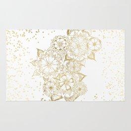 Hand drawn white and gold mandala confetti motif Rug
