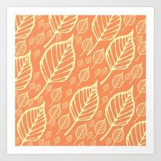 Orange Autumn Leaf Design  Art Print