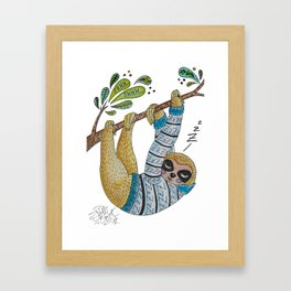 Cute Sleepy Sloth Illustration - Ink and watercolour Framed Art Print