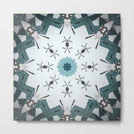 Decorative Silver and Sea Foam Mandala Metal Print