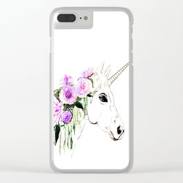 Unicorn with purple flowers Clear iPhone Case