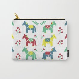 Scandinavian Horses Print Carry-All Pouch