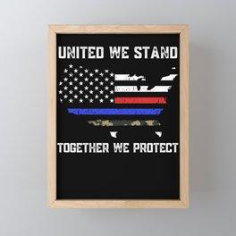 Thin Blue Red Camo Line Police Firefighter Military Flag Framed Mini Art Print