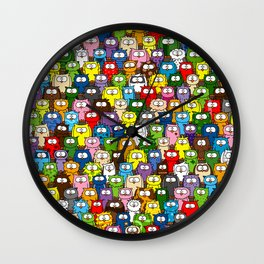 colorful crowd of owls Wall Clock
