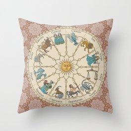 Vintage Astrology Zodiac terracotta Throw Pillow