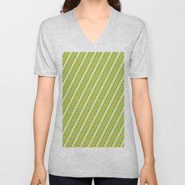 Geometrical green yellow white triangles stripes pattern Unisex V-Neck