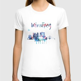 Colorful watercolor Winnipeg skyline T-shirt