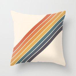 Arida -  70s Summer Style Retro Stripes Throw Pillow