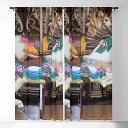 Vintage Carousel Horse galloping Blackout Curtain