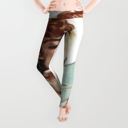 Beautiful Young Woman Holding Love Letter Vintage Vector Leggings
