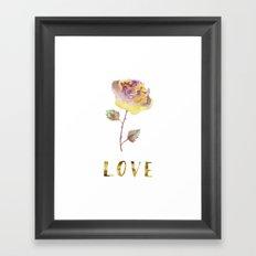 Golden LOVE Rose / Valentine's Day Card Framed Art Print