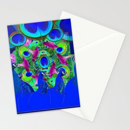 BLUE PEACOCKS & PURPLE MORNING GLORIES Stationery Cards