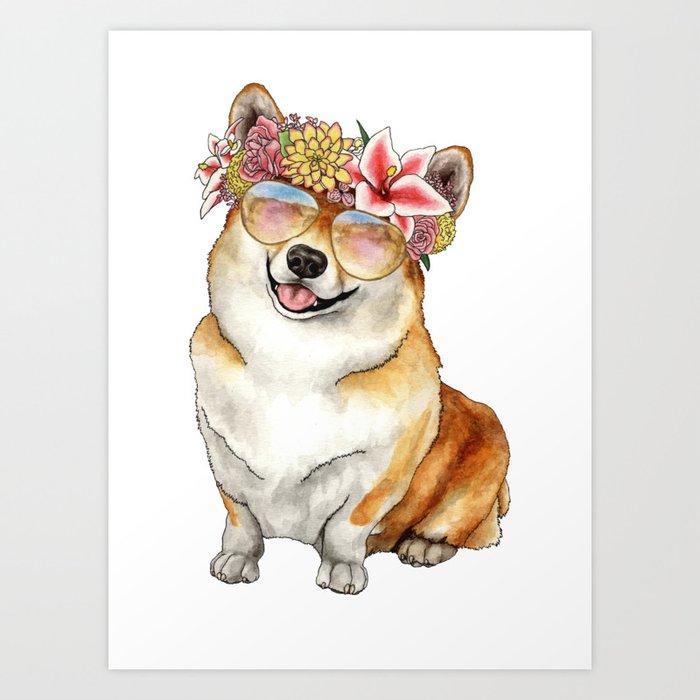 Flower Crown Corgi Art Print