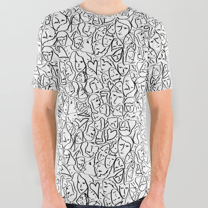 Elios_Shirt_Faces_with_Valentine_Hearts_in_Black_Outlines_on_White_All_Over_Graphic_Tee_by_PodArtist__Large