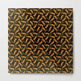 Beautiful fire gold and orange artistic walking lizards. Reptile lover Elegant classy lizard pattern Metal Print