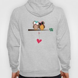 Love owls on the branch, blue background Hoody