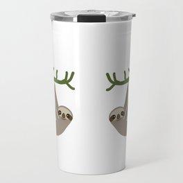cute Three-toed sloths on green branch Travel Mug