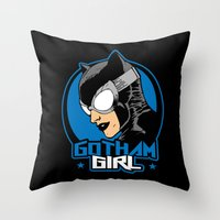 gotham Throw Pillows featuring Gotham Girl by Buby87