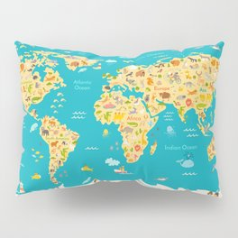 Animal map for kid. World vector poster for children, cute illustrated Pillow Sham