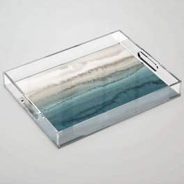 WITHIN THE TIDES - CRASHING WAVES TEAL Acrylic Tray