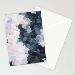 Navy Black Beige Lavender Abstract Art Moonlight Ocean Painting Stationery Cards