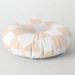 Large Checkered - White and Desert Sand Orange Floor Pillow