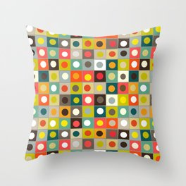 retro boxed dots Throw Pillow